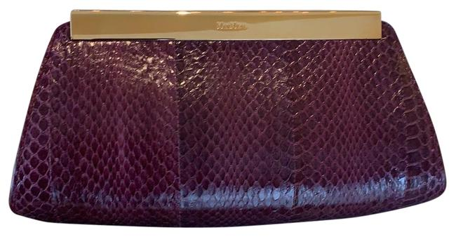 Item - Maroon (Burgundy) Snakeskin Leather Clutch