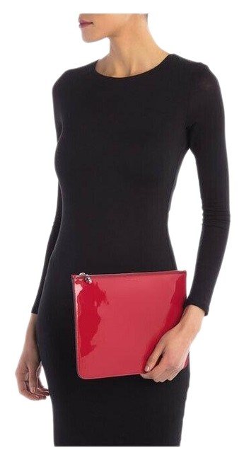 Item - Skull Zip Pouch Crimson Patent Leather Clutch