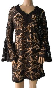 Julian Chang Lace Bell Sleeve V-neck Dress