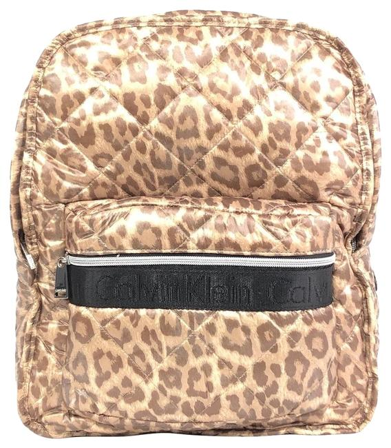 Item - Quilted Brown Leopard Print Nylon Backpack