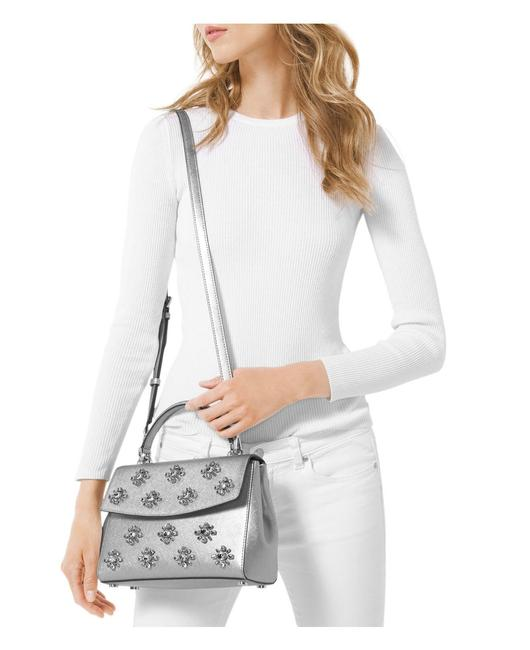 Item - Ava Jewel Small Top Handle Silver Leather Satchel