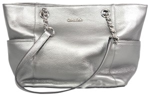 Calvin Klein Shoulder Chain Leather Tote in Silver