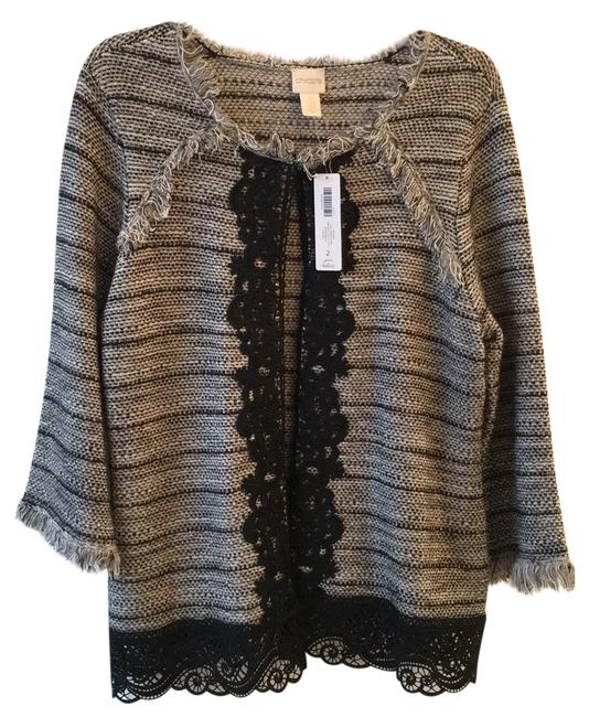Item - Black Gray and White with Some Black Glitter Stripes For Extra Interest. Jacket Size 10 (M)