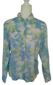 Liz Sport Vintage Classic Semi Sheer Button Down Shirt Blue Floral/Green/White