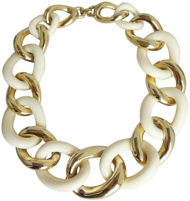 Givenchy Gold White 1980s & Goldtone Collar Necklace Givenchy Gold White 1980s & Goldtone Collar Necklace Image 1
