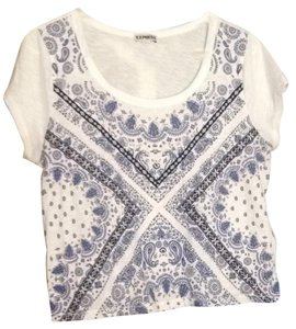Express T Shirt White and Blue