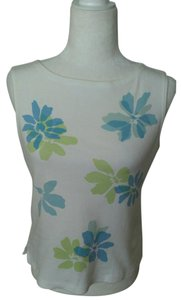Liz Sport Vintage High Neck Petite Top White Floral/Blue/Green