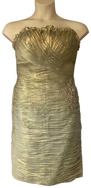 Item - Spanish Gold Metallic Ruched Embellished Party Night Ou Short Formal Dress Size 12 (L)