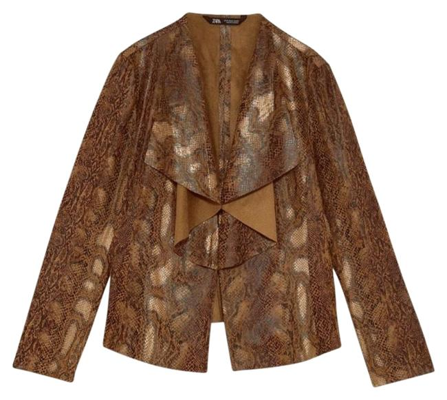 Item - Brown Limited Faux Suede Animal Jacket Size 4 (S)