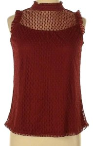 Three Hearts Lace Trim Sleeveless Top Red