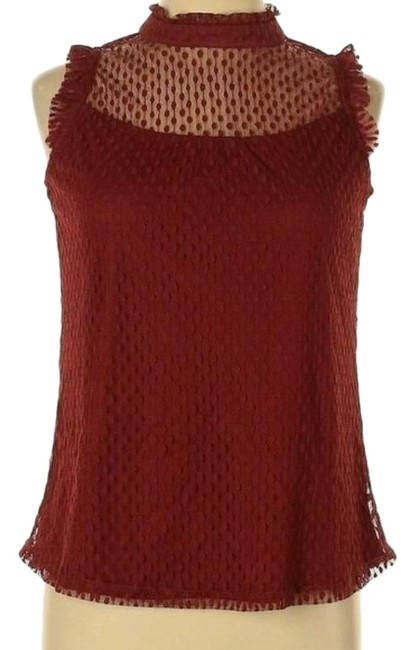 Item - Red Solid Print Sleeveless Large Blouse Size 12 (L)