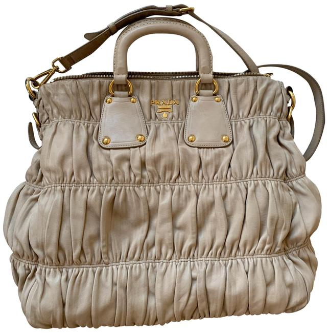 Prada Quilted Beige Lambskin Leather Hobo Bag Prada Quilted Beige Lambskin Leather Hobo Bag Image 1