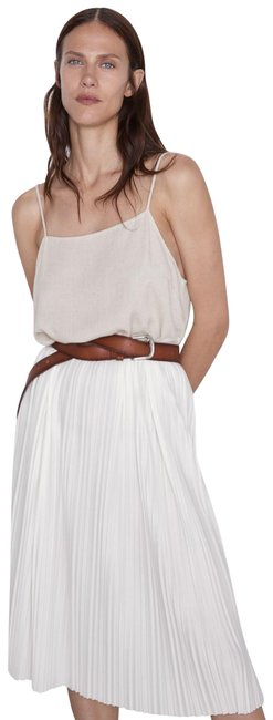 Item - Ivory L Pleated Contrasting Strappy 5039/631 Short Cocktail Dress Size 14 (L)