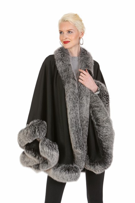 Item - Black Cashmere -- Frost Fox Trimmed Poncho/Cape Size OS (one size)