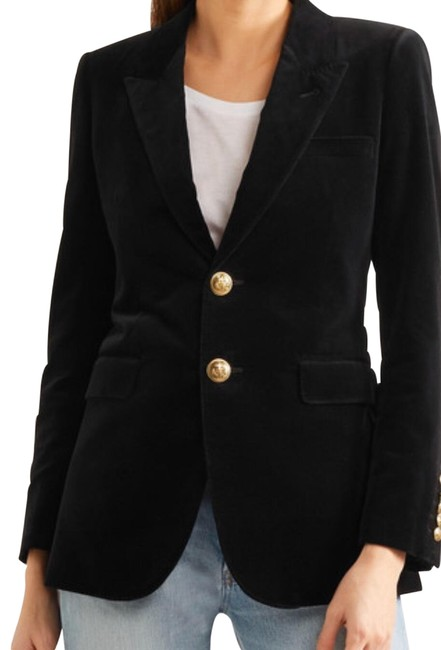 Item - Black Velvet Jacket & Gold Tone Buttons Blazer Size 0 (XS)