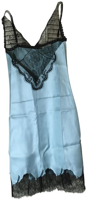 Item - Blue Green Lace Encrusted Silk Slip Mid-length Cocktail Dress Size 2 (XS)