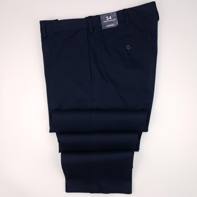 Item - Navy Blue Traditional Fit Cotton Pants 34x32 Comfort Stretch Shirt