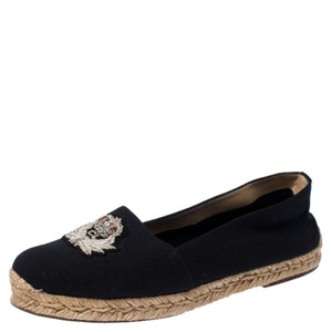 Christian Louboutin Canvas Embroidered Espadrille Navy Blue Flats