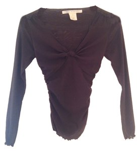 Max Studio Mesh Fitted Longsleeve Top Brown