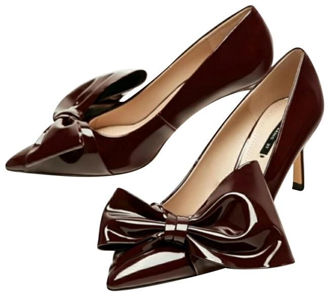Item - Burgundy Wine Patent Court Pumps with Bow Flats Size US 6 Regular (M, B)