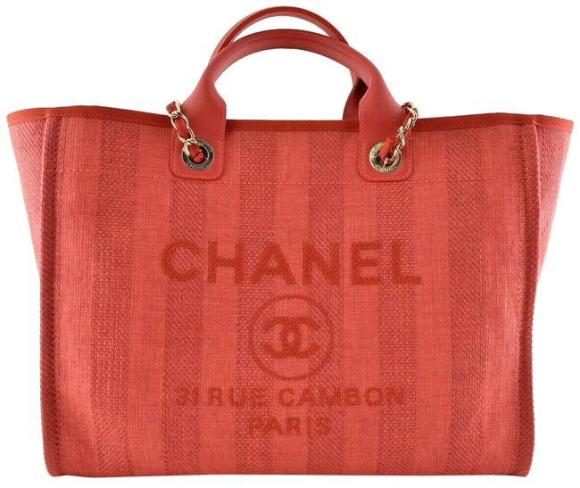 Item - Deauville Tote 20p Striped Large Shopping 30cm 2 Way Gold Chain Red Canvas Shoulder Bag