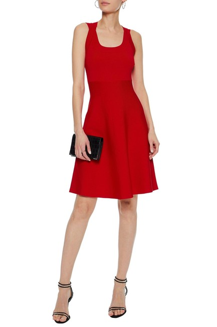 Item - Red Flare Ponte Short Night Out Dress Size 8 (M)