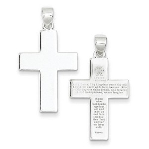 Apples of Gold THE LORD'S PRAYER PLAIN AND POLISHED CROSS PENDANT, STELRING SILVER