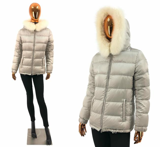 Item - Silver W Polyester Puffer / Down Jacket Fur Hood Coat Size 8 (M)