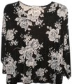 Notations Stretch Black/White 3/4 Sleeve Floral Top Black/White