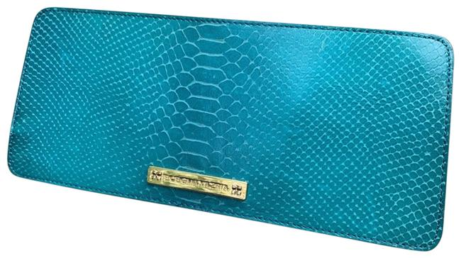 Item - Runway Snakeskin Turquoise Leather Clutch