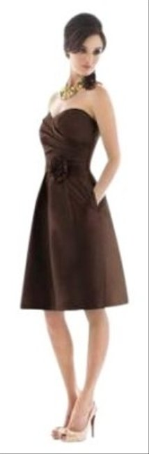 Preload https://item3.tradesy.com/images/alfred-sung-cocktail-length-strapless-peau-de-soie-dress-brown-26942-0-0.jpg?width=400&height=650