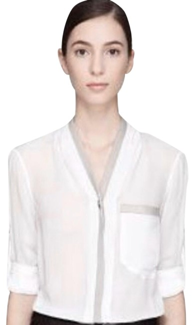 Item - White and Tan Blouse with Leather Trim Button-down Top Size 8 (M)