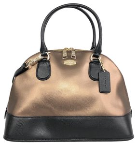 Coach Crossbody Leather Shoulder Satchel in Bronze / Black