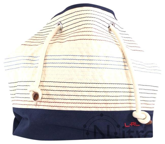 Item - Casco Tote Beige / Navy / Red / White Canvas Beach Bag