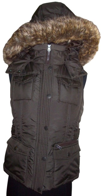 Item - Brown Green With Faux Fur Trimmed Hood Medium Vest Size 8 (M)