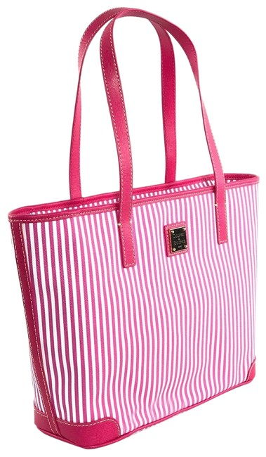 Item - Charleston Zip Top Pink / White Coated Canvas Tote