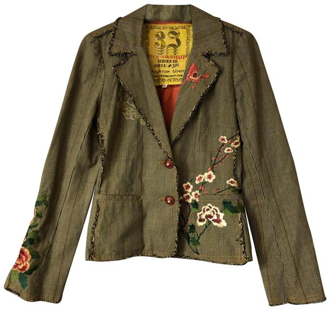 Item - Brown Floral Embroidered Printed Cotton Blazer Jacket Size 8 (M)