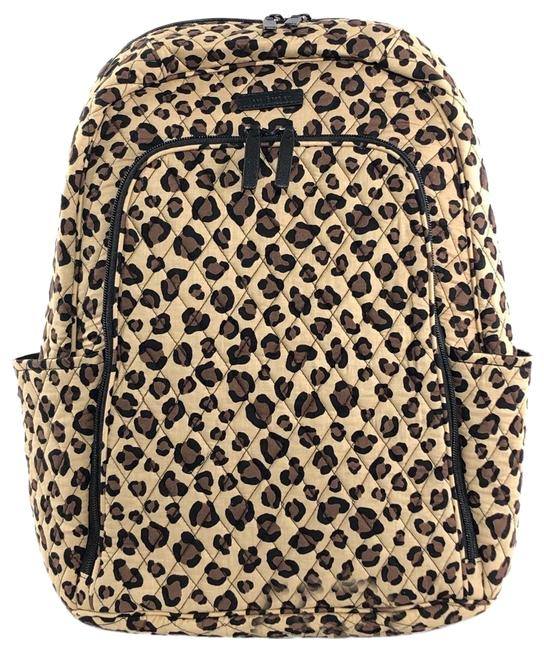 Item - Quilted Cotton Laptop Tan Leopard Backpack