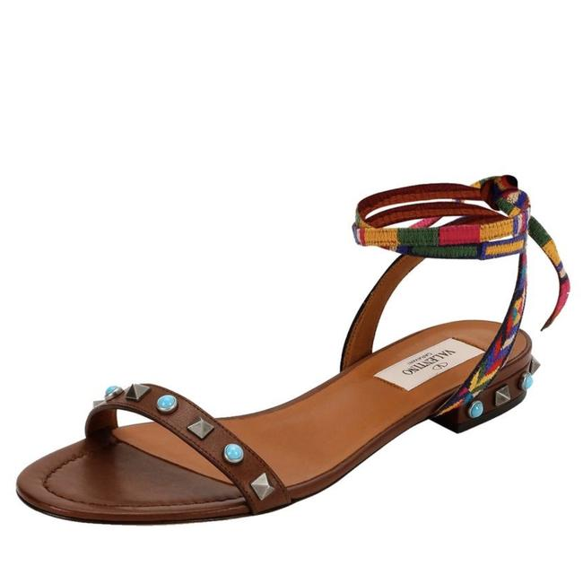 Valentino Brown Rockstud Rolling Embroidered Ankle-wrap Flat Sandals Size EU 36 (Approx. US 6) Regular (M, B) Valentino Brown Rockstud Rolling Embroidered Ankle-wrap Flat Sandals Size EU 36 (Approx. US 6) Regular (M, B) Image 1