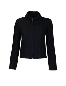 Chanel Cashmere Zip Black Jacket