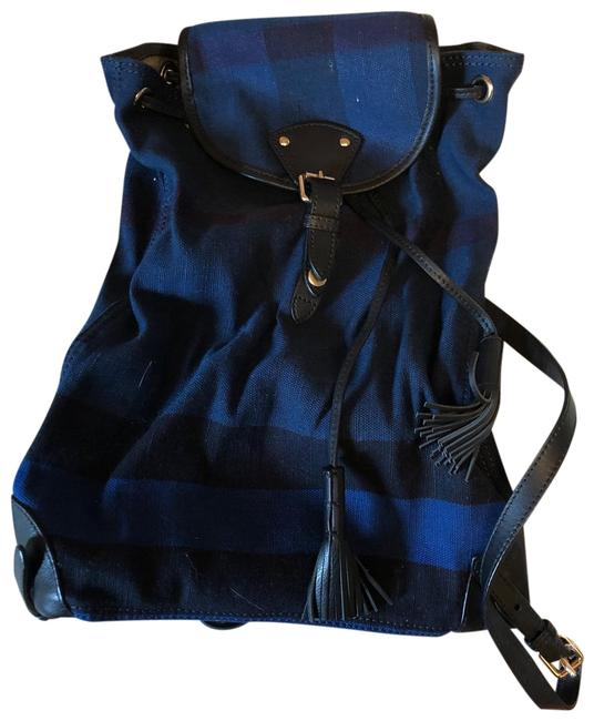 Item - Check Blue Canvas Backpack