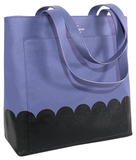 Item - New York Lita Street Scallop Andrea Oyster Blue / Black Leather Tote