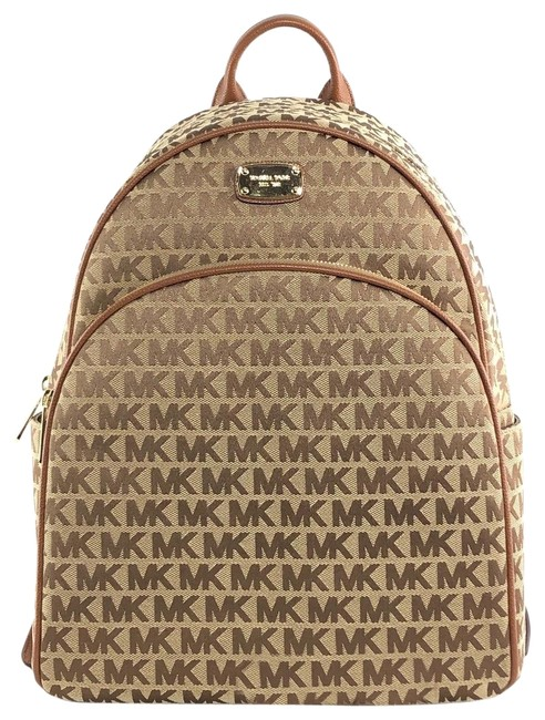 Item - Abbey Signature Large Leather Beige / Brown Jacquard Backpack