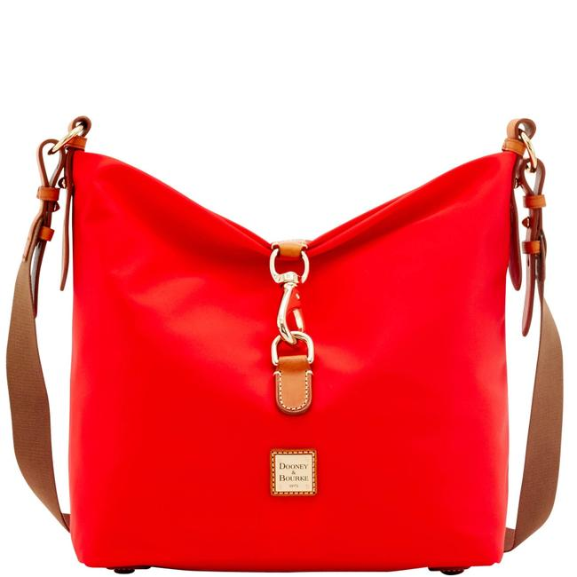 Item - Annie Windham / Leather Red Nylon Hobo Bag