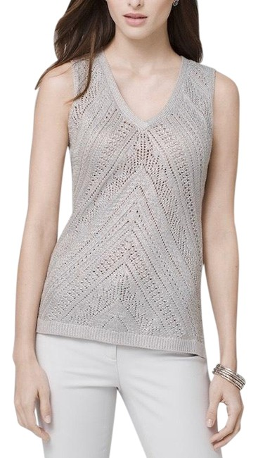 Item - Sleeveless Textured Tank Metallic Silver Sweater