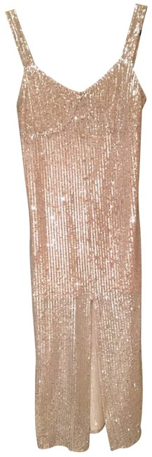 Item - Silver Sequin Midi Mid-length Cocktail Dress Size 8 (M)