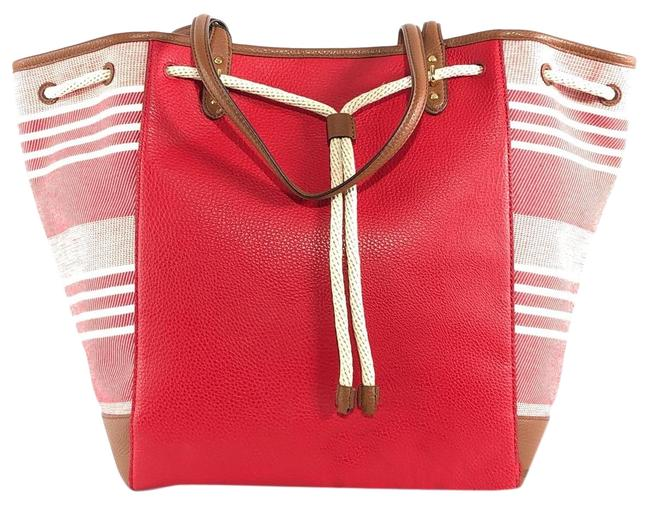 Item - Oxford Large Jacquard / Leather Red / Brown Tote