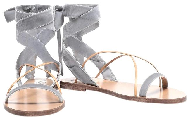 Item - Gray Tan Velvet and Leather Ankle-wrap Sandals Size EU 35.5 (Approx. US 5.5) Regular (M, B)