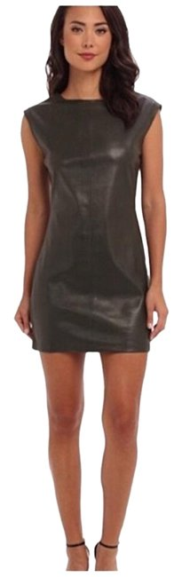 Item - Green Bcbg 'karlee' Olive Faux Leather Short Casual Dress Size 12 (L)