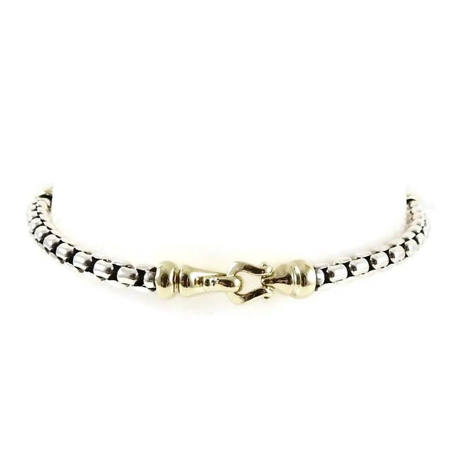 Item - Silver and Gold Box Sterling Chain Buckle Bracelet